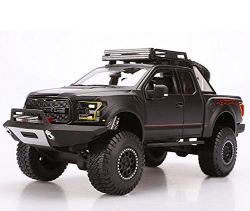 Ford 2017 F-150 Raptor Pickup Truck Matt Black Off Road Kings 1/24 by Maisto 32521