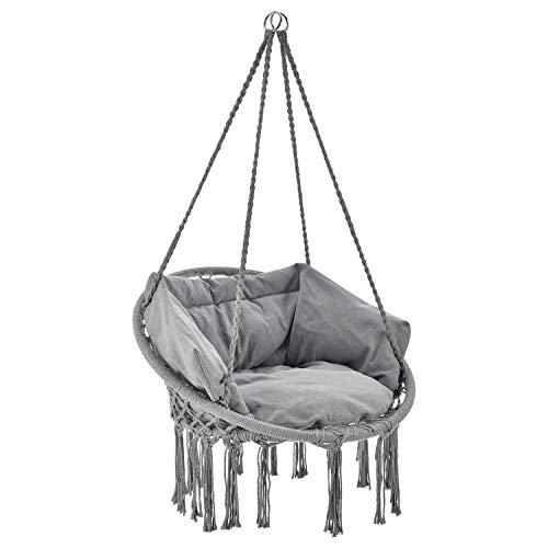 Juskys Hängesessel Cadras mit Kissen im Rücken und Sitzpolster – Indoor Hängekorb 120 kg Belastbarkeit für Kinder & Erwachsene – Einfache Aufhängung