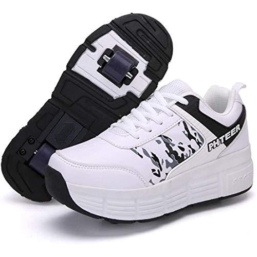 GWYX Zapatillas para Correr Zapatillas Deportivas con Ruedas, Zapatillas para Niños con Ruedas, Zapatillas con Ruedas De Moda, Zapatillas De Skate Zapatillas para Niños con 2 Ruedas,White-38 EU