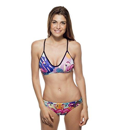 Turbo Power Flamingo Bragas de Bikini, Multicolore, X-Large para Mujer