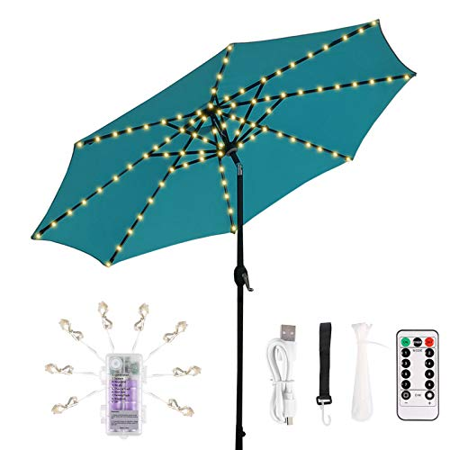 ECOWHO LED Patio Umbrella Lights, Outdoor Rechargeable Battery Operated Parasol String Lights with Remote Control Timer 8 Modes IP67 Waterproof for Camping Tents Beach Holidays …