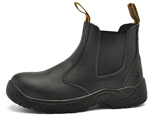 SAFETOE Unisex Work Boots Steel Toe Shoes- M8025 Black Men & Women Wide Fit Leather Waterproof Slip Resistant Safety Shoes