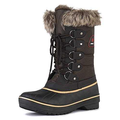 DREAM PAIRS Women's DP-Canada Brown Faux Fur Lined Mid Calf Winter Snow Boots Size 8 M US