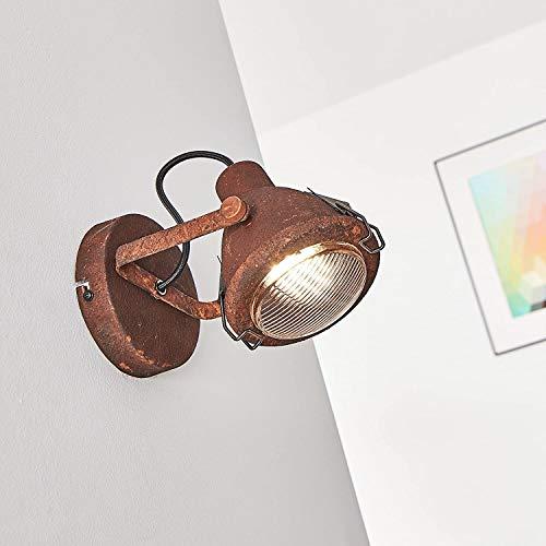 Wandspot, 1x GU10 max. 7W, Metall/Glas, rost/schwarz