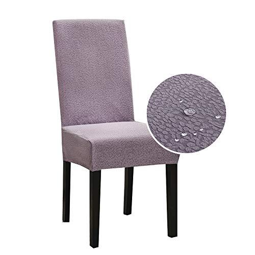Morbuy Seersucker Stuhlhussen Stretch Universal Stuhlbezug, Wasserdicht Staubdicht Einfarbig Stuhl Husse für Hochzeit Weihnachten Bankett Hotel Dekoration (Lavendel,6 Stück)