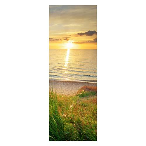 wandmotiv24 Türtapete Sonnenuntergang an der Küste 70 x 200cm (B x H) - Dekorfolie selbstklebend Tapete, Tür-Aufkleber, Türbild, Wandbild M0913