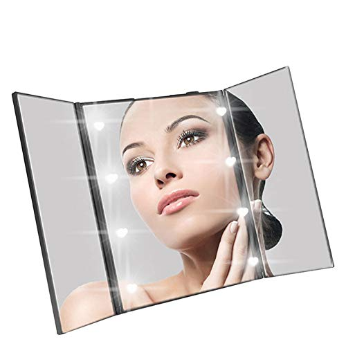 LED Miroir de Maquillage Pliant à Trois côtés Miroir de beauté Miroir de Maquillage Portable rectangulaire Peut Ajuster intelligemment la luminosité de la lumière avec Support
