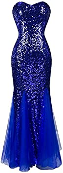 Angel-fashions Women s Sleeveless Blue Sequins Tulle Evening Dress Large