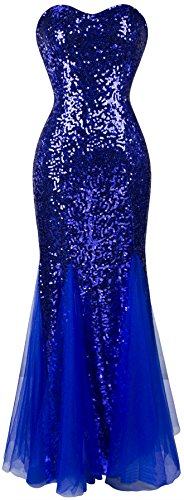 Angel-fashions Mujer Relleno sin Mangas Azul Lentejuelas Tul Vestido de Noche Medium Blue