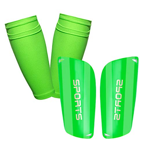 GeekSport Youth Soccer Shin Guards for Kids Toddler Shin Pads Calf Sleeves USA Soccer Gear for 3 5 4-6 7-9 10-12 Years Old Children Teens Boys Girls Green M 3'11'' - 4'6''
