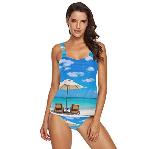 Damen Tankini 2 Stück Bikini Türkis Meer Liegestühle Weiß Sand Tropische Palmen Sonne Badeanzug Beachwear Gr. S, multi