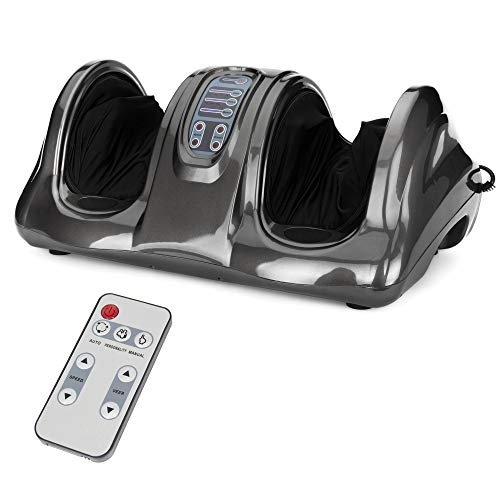 Best Choice Products Therapeutic Shiatsu Foot Massager Kneading and Rolling for Foot, Ankle, Nerve Pain w/High Intensity Rollers, Remote Control, 4 Programs, 3 Massage Modes - Gray
