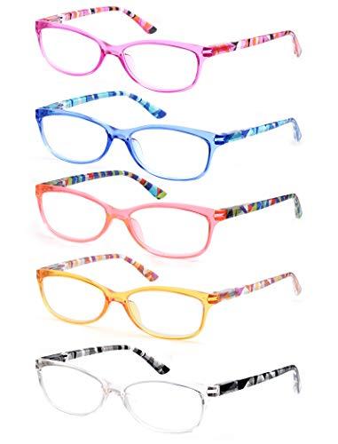 HEEYYOK Gafas de lectura Mujer Conjunto de 5,Moda,Cómoda,Elegante Lectores Multicolores,Lente Transparente Anteojos Para Leer con Bisagra de Resorte con Una Bolsa