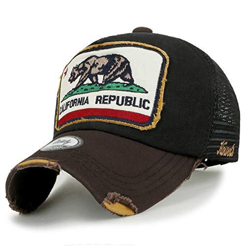 ililily Illustration Patch Distressed Cotton Baseball Cap Vintage Trucker Hat, Black Mesh