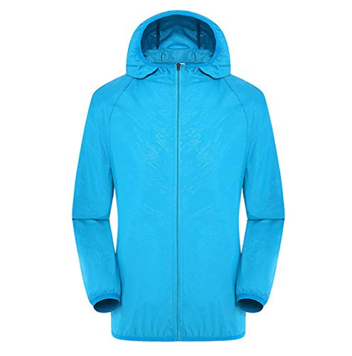 Amlaiworld Men Women Plus Size Tops Casual Jackets Windproof Ultra-Light Rainproof Windbreaker Top Sky Blue