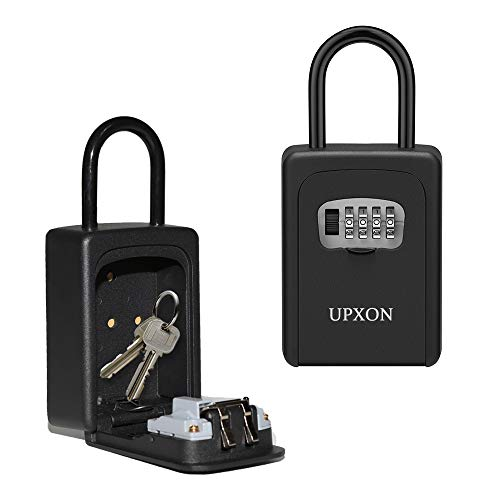 Key Lock Box, UPXON Large Capacity Key Storage Box with Resettable Code, 4 Digit Combination Lockbox for Spare Keys, Waterproof Wall Mount Key Box for Home, Hotels, Airbnb and Schools (Black 1 Pack)