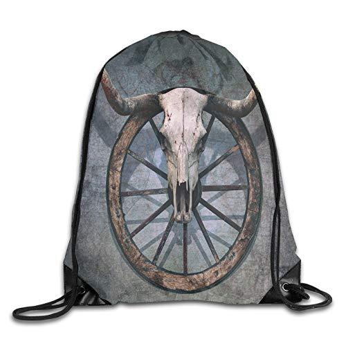 Drawstring Bag Sport Gym Sackpack-Wild West Themed Decor With Bull Skull On Cart Wheel Scratched Wall,Drawstring backpack Mouth Gym Sack Rucksack Shoulder Bags For Men & Women