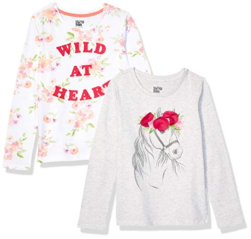 Spotted Zebra 2-Pack Long-Sleeve Novelty fashion-t-shirts, Wild at Heart, Small (6-7)