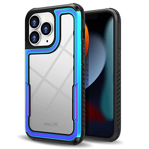 ZUSLAB Custodia Compatibile con Apple iPhone 13 PRO Max 2021, Alluminio + Paraurti TPU + Cover Posteriore Trasparente Rigido, Scudo in Ferro Iridescente, Case Protettiva Ibrida Resistente, Nero