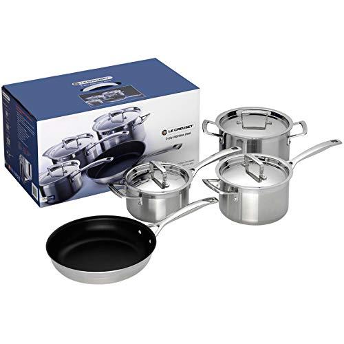 Le Creuset - Batería de cocina de 4 piezas de acero inoxidable de 3 capas, color pleateado