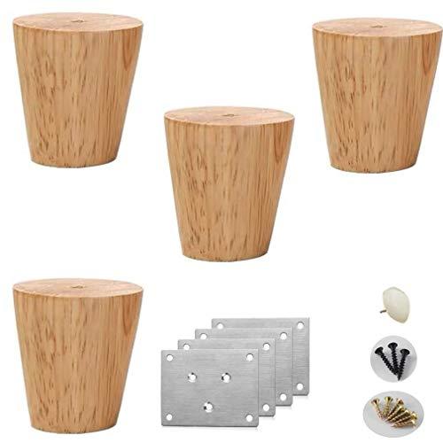 Tafelpoten, 4 stuks tafelpoten, sofapoten van massief eiken conische salontafelpoten reservemeubelpoten bedpoten bank tv-kast 15 cm / 5.9