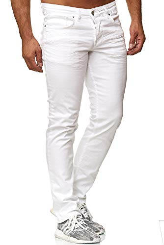 Tazzio Slim Fit Herren Styler Look Stretch Jeans Hose Denim 16533 (30/30, Weiss)