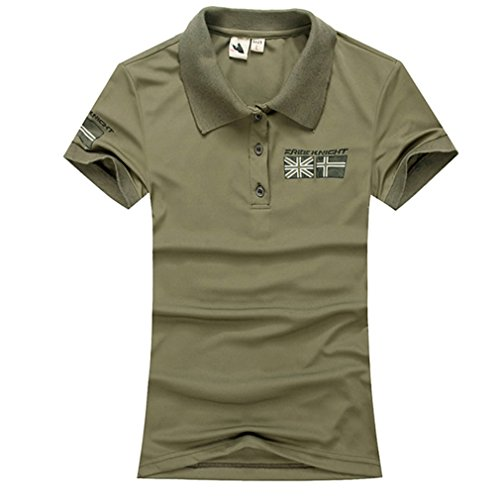 emansmoer Femme été Manches Courtes Loisir Polo Shirts Respirant Outdoor Sport Quick Dry Wicking T-Shirt Tee Tops (Medium, Armée Verte)