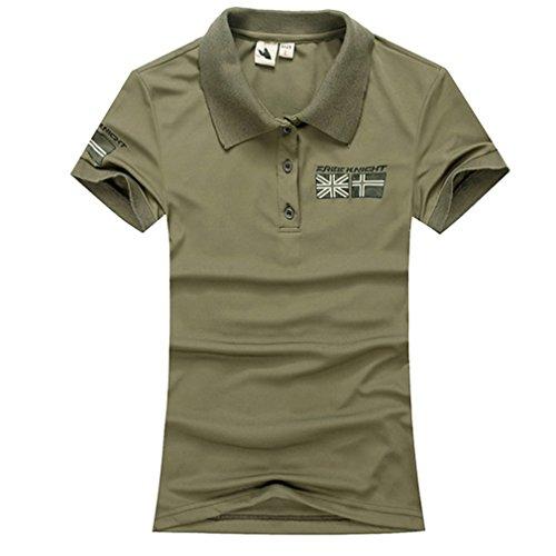 emansmoer Femme été Manches Courtes Loisir Polo Shirts Respirant Outdoor Sport Quick Dry Wicking T-Shirt Tee Tops (Medium, Armée Verte)