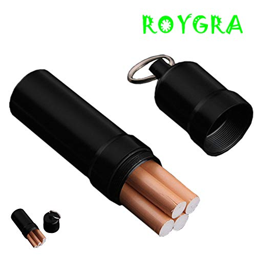 roygra Cigarette Case King Size (4-5 Capacity) Sturdy Mini Waterproof Metal Cigarette Holder (A - Black 4-5 Capacity)