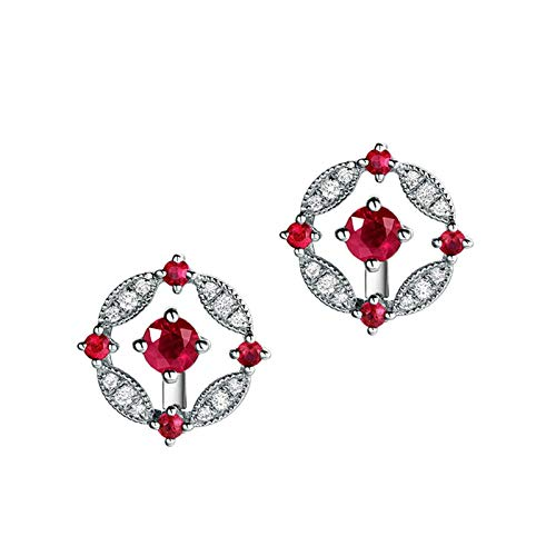 Photo of Bishilin 18K White Gold Women Earring Flowers Pigeon Blood Red Ruby Elegant Stud Earrings White Gold