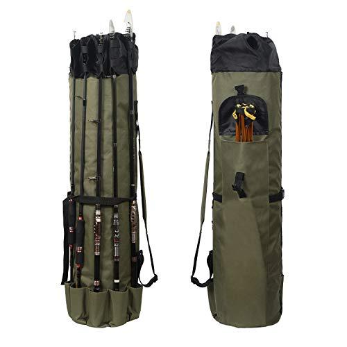 TiRiSMART Rutentasche Angeltasche Angelkoffer, wasserdichte Fischerei Werkzeug Aufbewahrungstasche mit großer Kapazität für 5 Stangen