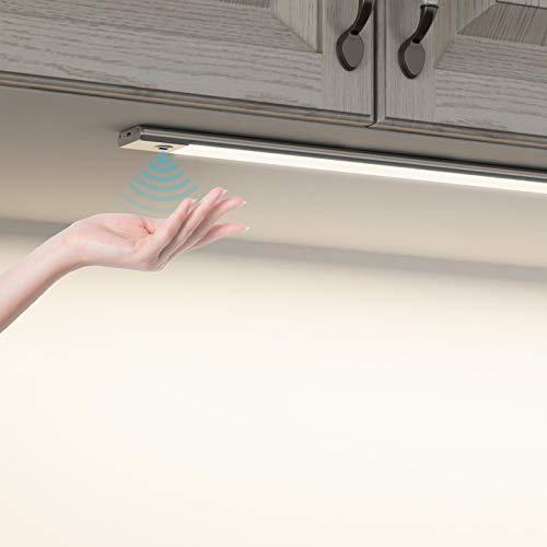 SOAIY 60cm Luci armadio con sensore movimento a mano Ricaricabile Luce sottopensile Luminosità regolabile 3 Colori Funzione di memoria Facile da installare per Cucina,Armadio,Bagno ecc ecc