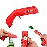 Cap Gun Bottle Opener Cap Gun Launcher Shooter Beer Openers Plastic Beer Bottle Opener for Home Bar Party Drinking Game(Red)