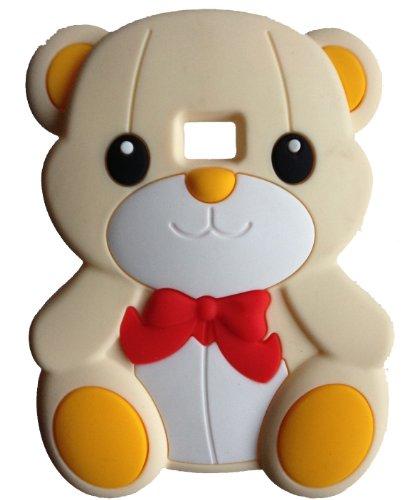 SKS Distribution® Crema Bow Orso Bear Custodia in Silicone/Cover/Case per LG Optimus L3 E400