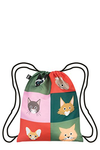 LOQI Artist Stephen Cheetham Cats Backpack Rucksack, 44 cm, 10 liters, Mehrfarbig (Multicolour)
