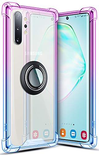 SANKMI Galaxy Note 10 Plus Case 6.8 Inch, Rugged Armor Protective Clear Ring Kickstand and Work with Magnetic Car Mount Colorful 5G Phone Case for Samsung Galaxy Note 10+ Purple Blue