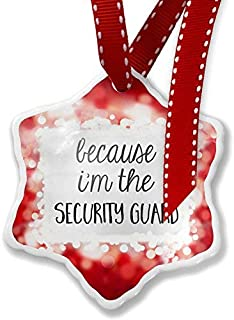 Enidgunter Christmas Decoration Ornament Because I'm The Security Guard Funny Saying, Red 3 inch