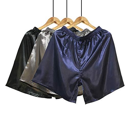 Wantschun Herren Satin Silk Unterwäsche Nachtwäsche Boxershorts Unterhosen Pyjama Bottom Shorts Pants Hose 3per pack, L, 3-pack:blau+grau+schwarz