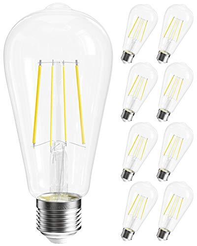 SHINESTAR 8-Pack Dimmable E26 LED Edison Bulb, 60w Equivalent, 4000K Daylight, ST58 ST19 Vintage LED Filament Light Bulbs