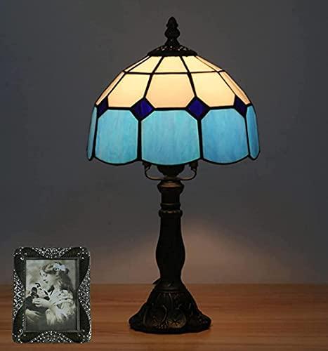 Lámpara de mesa de estilo mediterráneo de 8 pulgadas Pantalla de cristal de colores de estilo Tiffany Lámpara de dormitorio de cabecera americana retro para la cabecera del dormitorio-C