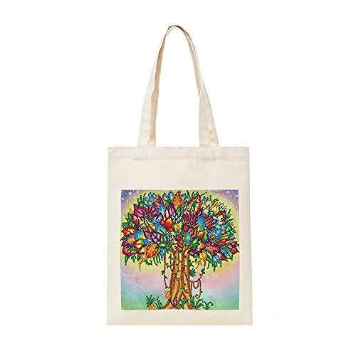 YAOLAN DIY Diamante Pintura Bolsa de Mano, Punto de Cruz Mosaico Bolso Reutilizable Bolsa de la Compra, Plegable Bolsillo de Frutas Verduras Ecológicas