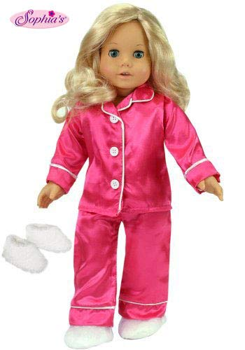 Sophias 18 Inch Doll Clothes Outfit, Hot Pink Satin Doll PJs with White Slippers, Doll Pajamas Set Fits American Girl Dolls, Doll Clothing for 18 inch Dolls   Doll Sold Separately