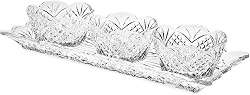 Le'raze Elegant Appetizer Serving Tray Condiment Server and Dip Bowl Set, Crystal Sparkling Design Relish Tray, For Dried Fruits, Nuts, Candy, and Dips