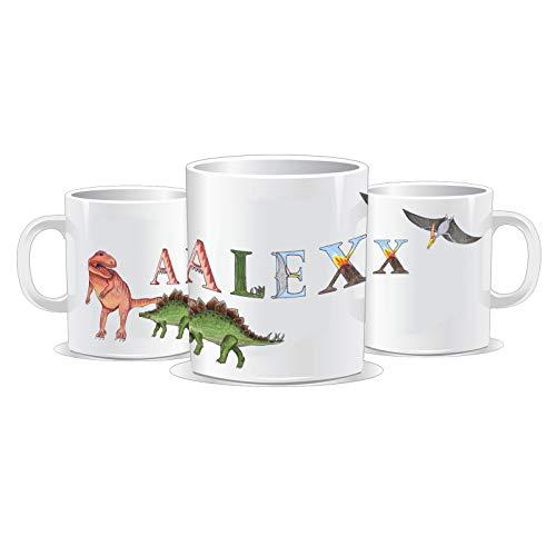 Dino Kinder Tasse mit Name/Farbwahl Tasse + Schriftwahl für Name + Keramik oder Kunststoff