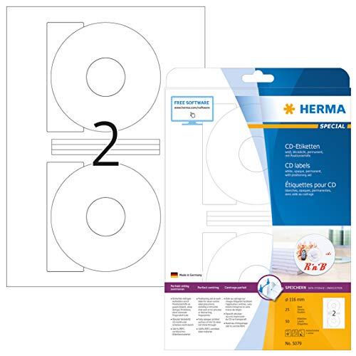 HERMA 5079 CD-/DVD-Etiketten inkl. Positionierhilfe DIN A4 blickdicht (Ø 116 mm, 25 Blatt, Papier, matt) selbstklebend, bedruckbar, permanent haftende CD-Aufkleber, 50 Klebeetiketten, weiß