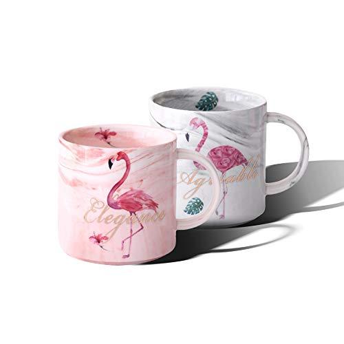 Watenkliy Kaffeetasse, Mark Cup Flamingo Kaffeebecher Kaffeetasse aus Porzellan, 330 ml, Pink-Grau, 2-teilig