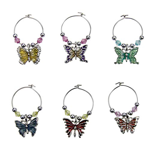 6pcs Wine Glass Charms Butterfly Sterling Glass Wine Pendant Ring Charms Table Decor