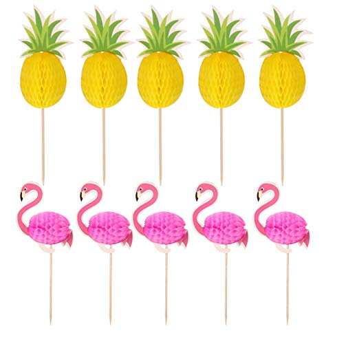 bowsugar 100 Pcs 3D Flamingo Pineapple Cake Toppers DIY Cupcakes Topper for Wedding Decorations Hawaiian Luau Summer Birthday Party Cake Food Decoration Supplies