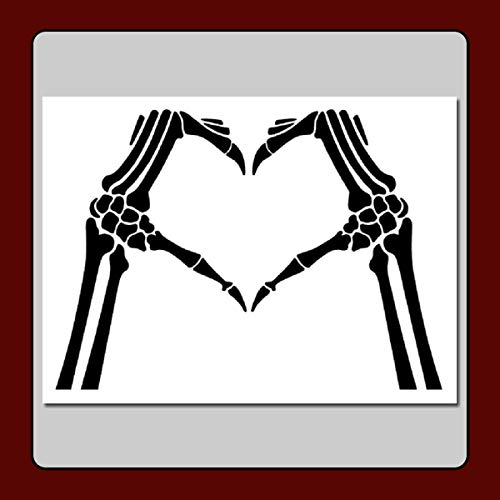 Skeleton Hands Heart Sign Craft Stencil Template Love/Bones/Halloween/Gothic (Large 9 X 12 (Image Dimensions 8 x 11 inches))