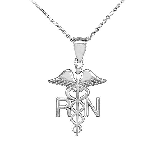 American Heroes 925 Sterling Silver Caduceus RN Charm Registered Nurse Pendant Necklace, 16'